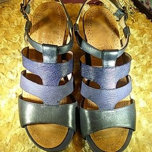 Nurture navy blue wedge sandals leather uppers